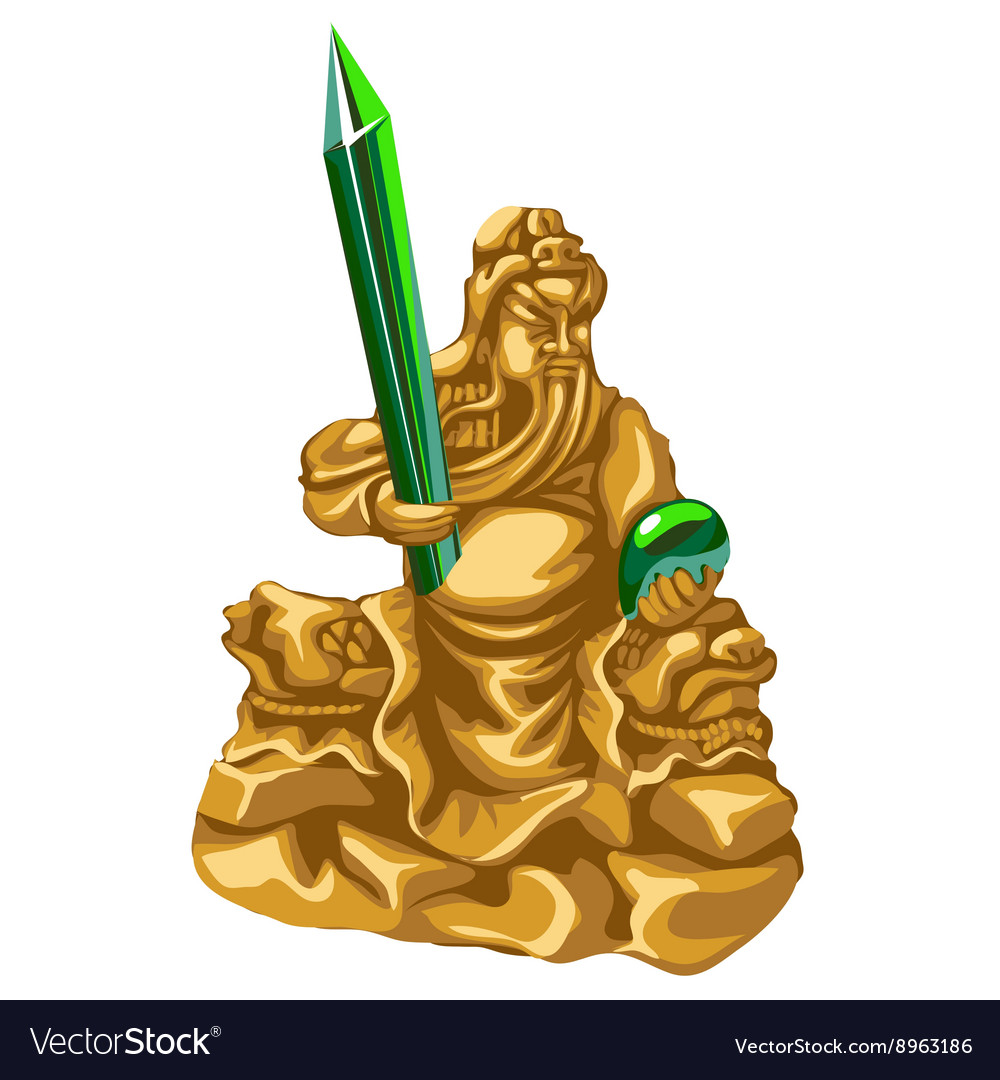 Olden statue of Poseidon with emerald spear vector image