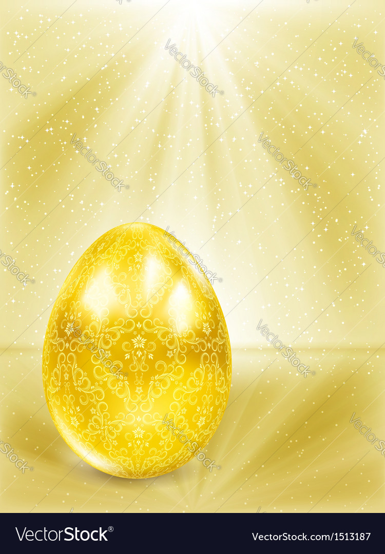 Golden egg in the rays vector image