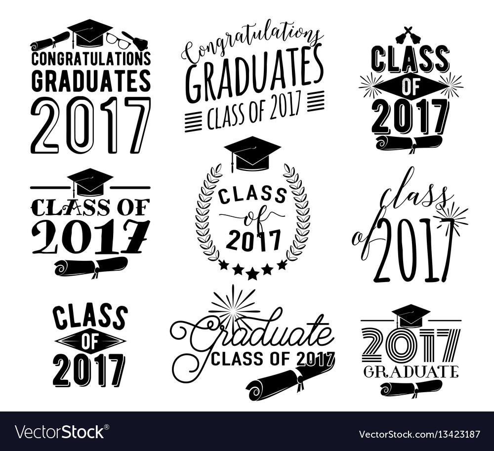 Graduation wishes overlays labels set monochrome vector image