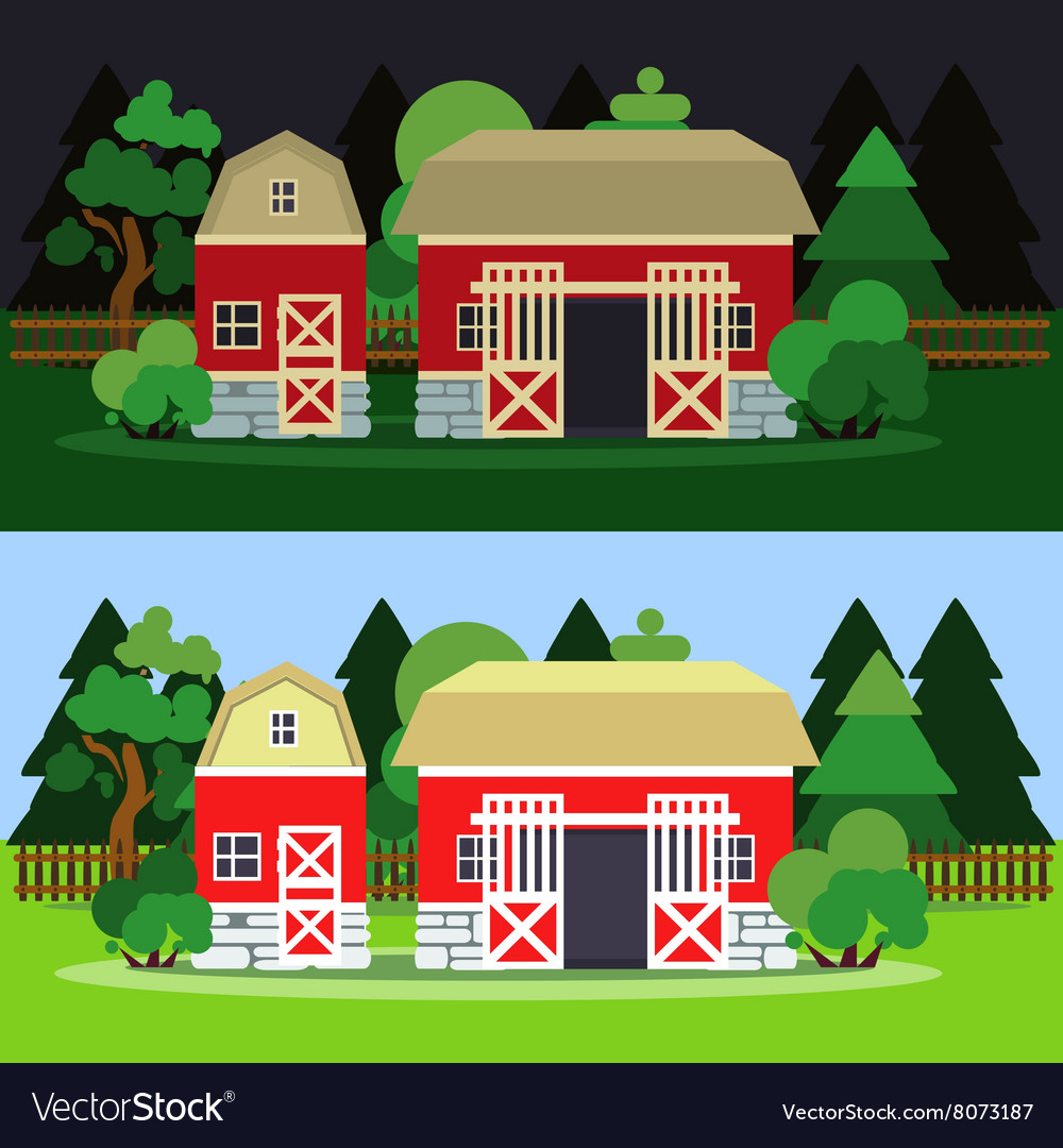 Morning and night landscape with barn and trees vector image