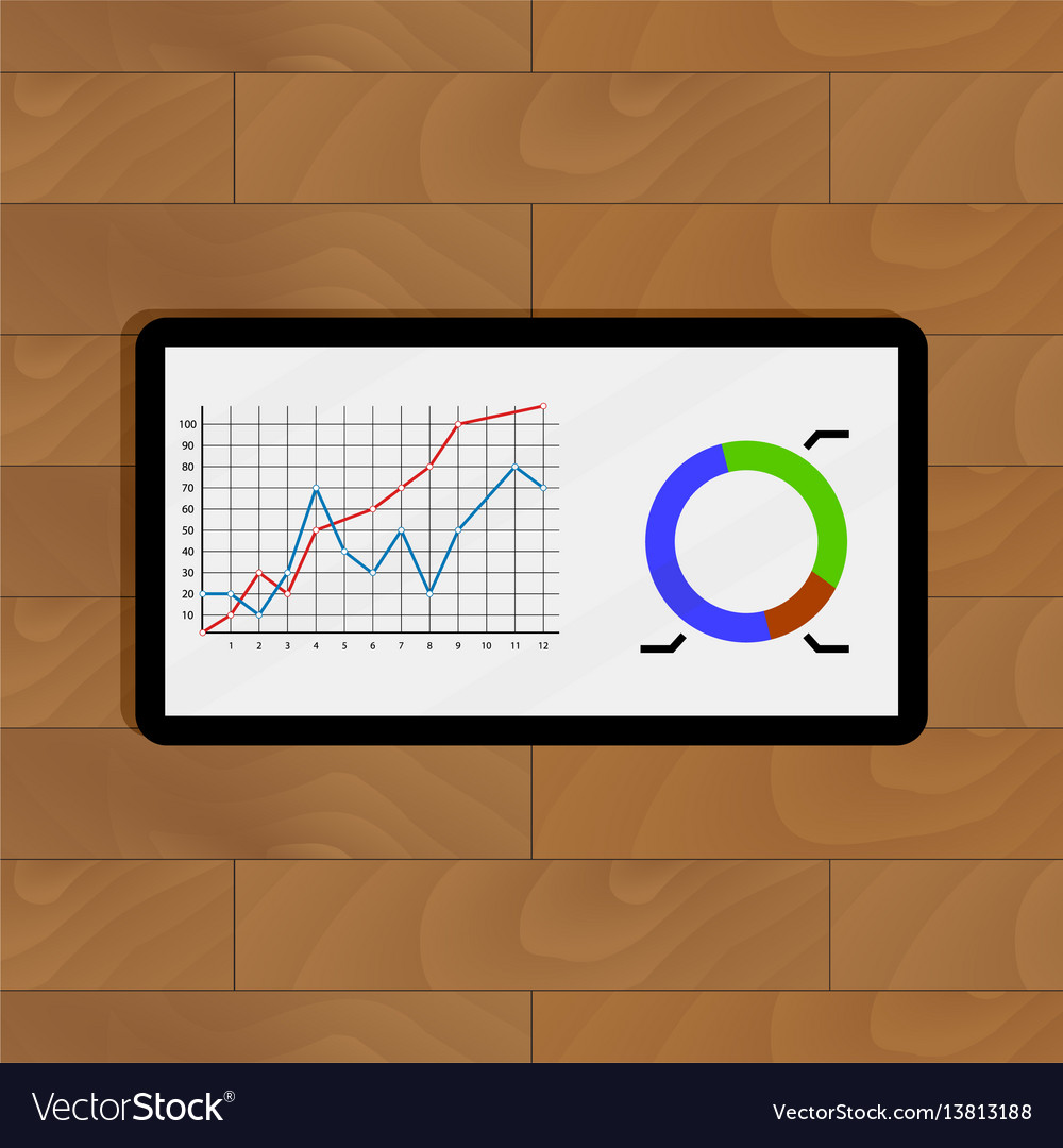 Infochart color on wooden table vector image