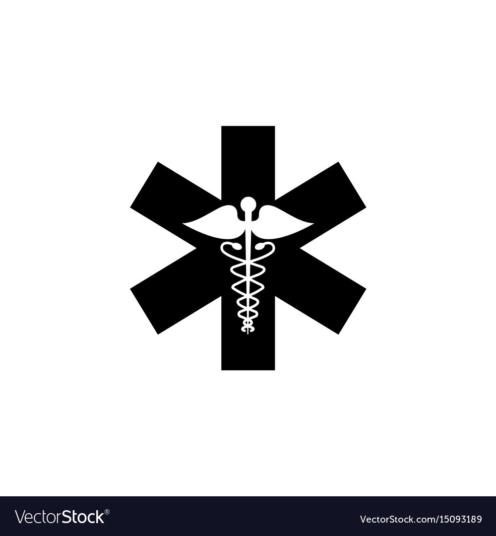 Caduceus solid icon medicine and health sign vector image