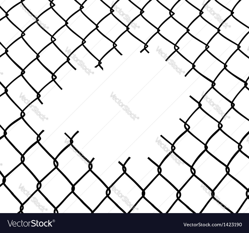 Cut wire fence vector image