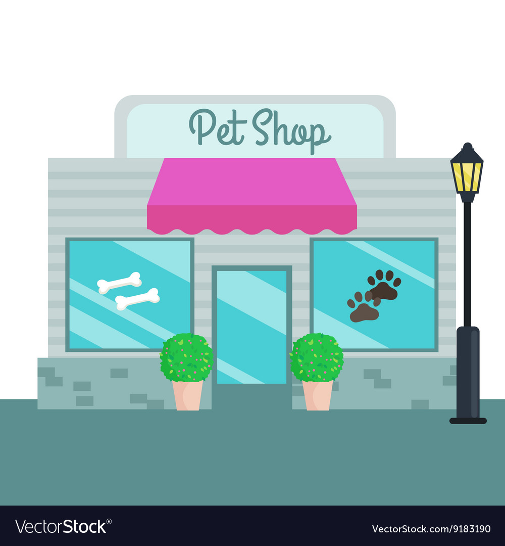 Pet Shops and stores front flat style vector image
