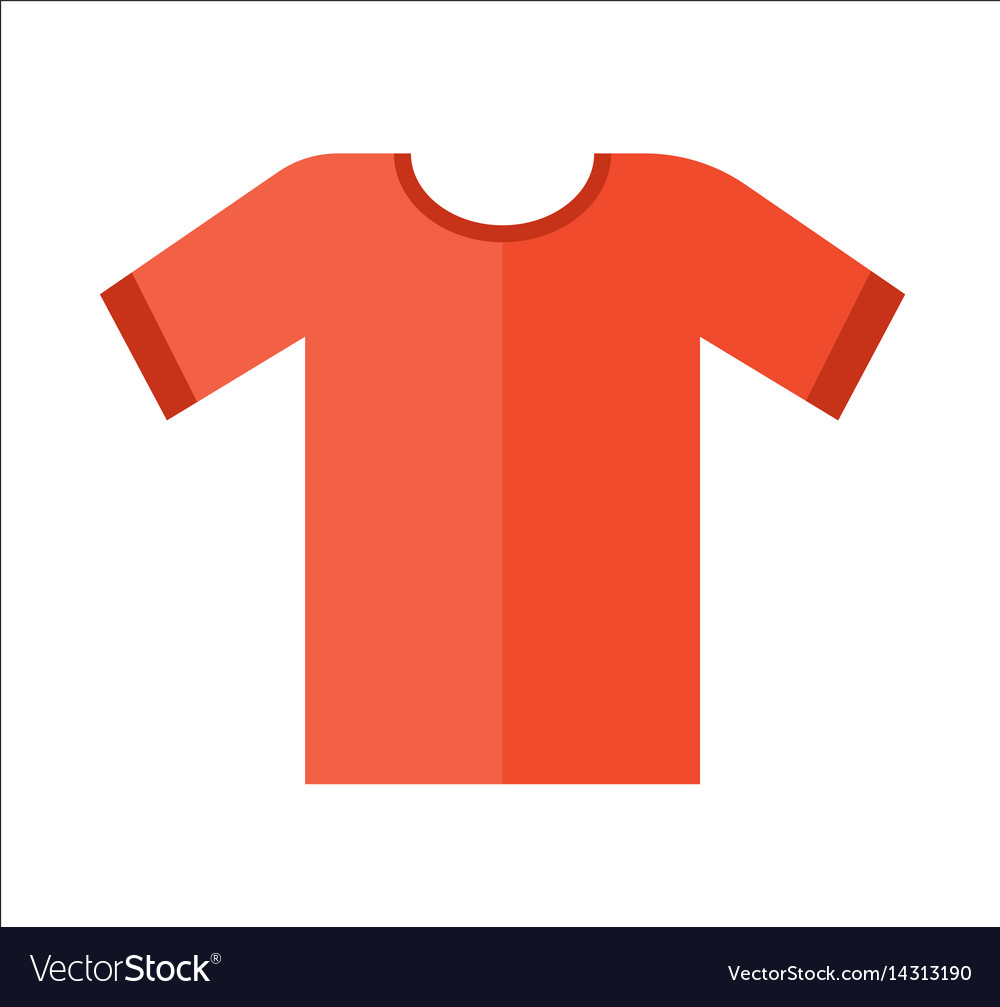 Red t-shirt icon in flat design vector image