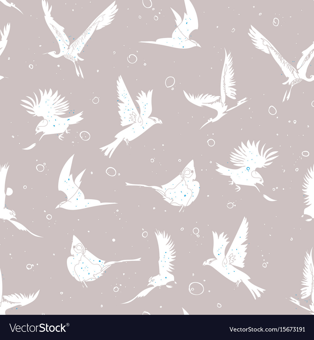 Hand drawn artistic single line birds seamless vector image