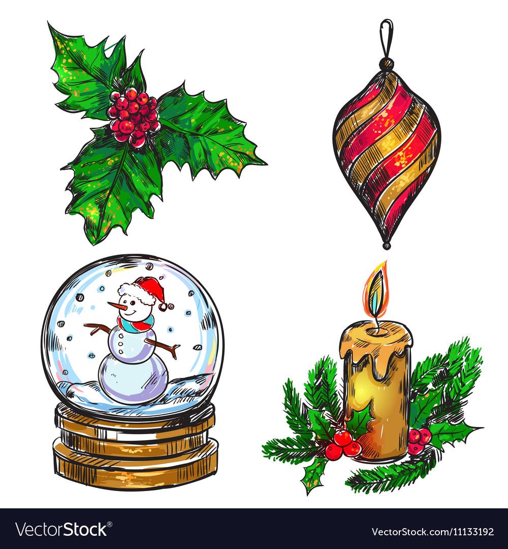 Christmas Sketch Icon Set vector image