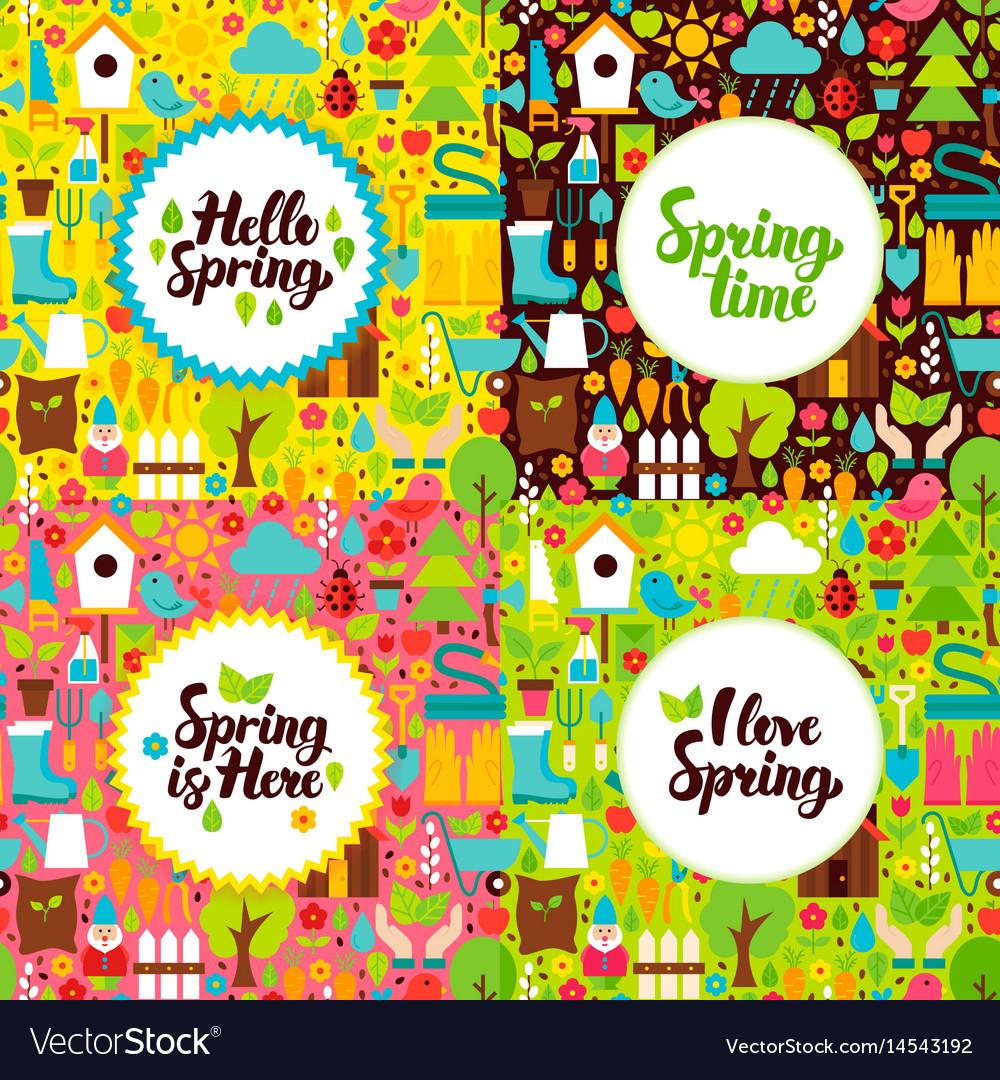 Flat spring garden postcards vector image