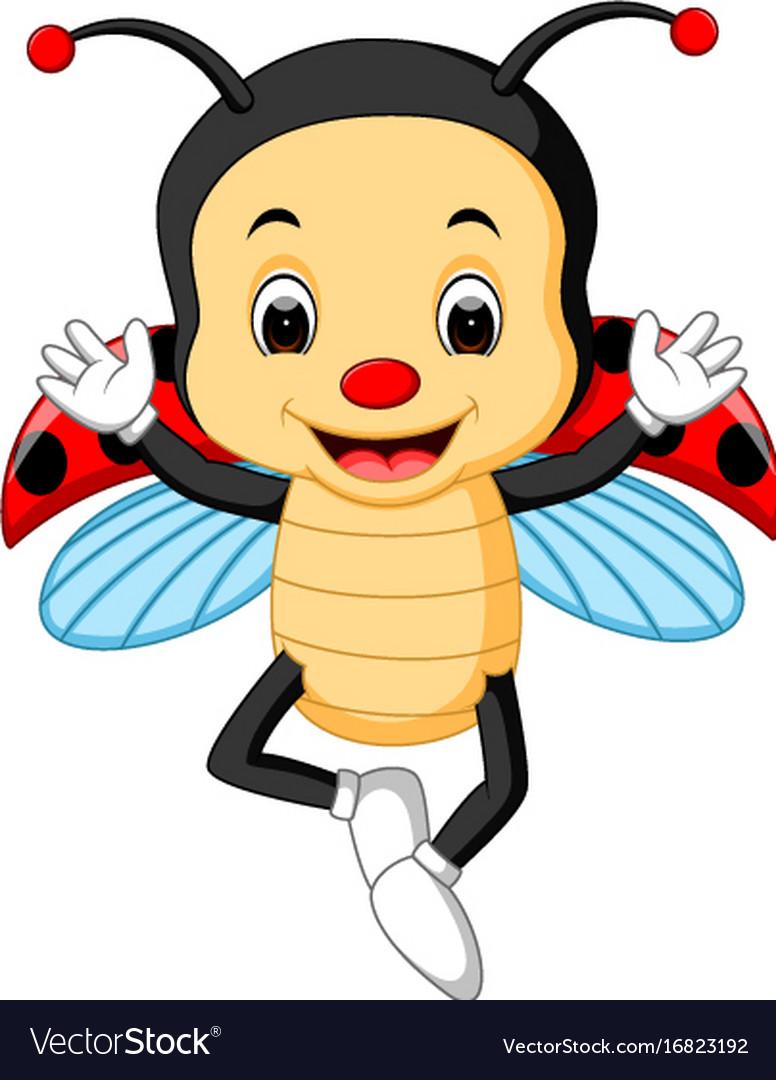 Ladybug waving hand with wing vector image