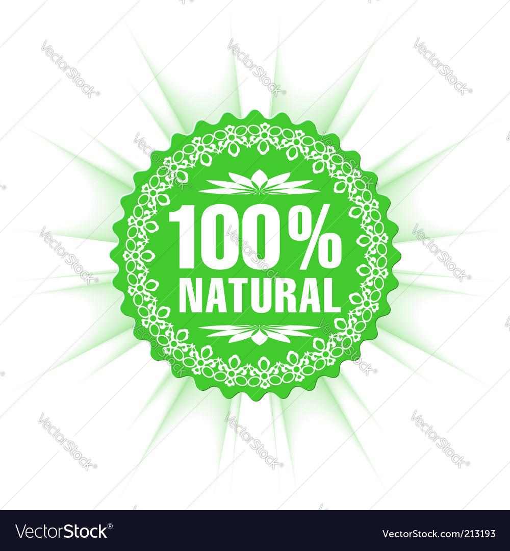 100% natural guarantee label vector image