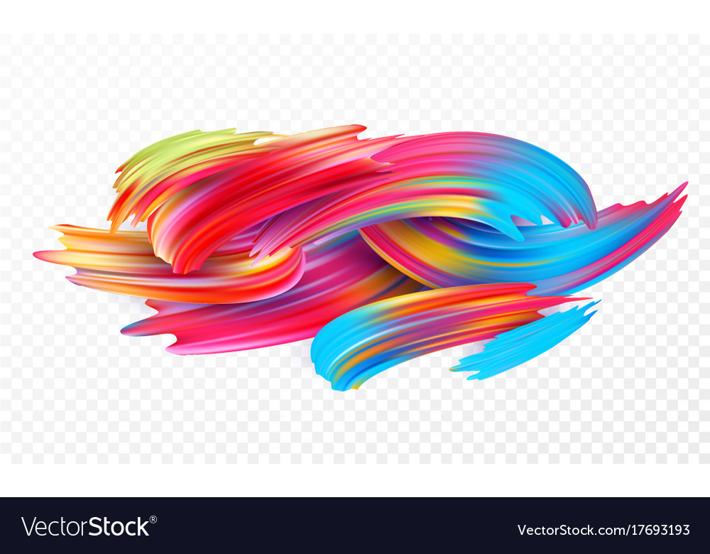Color brushstroke oil or acrylic paint design vector image for Oil or acrylic