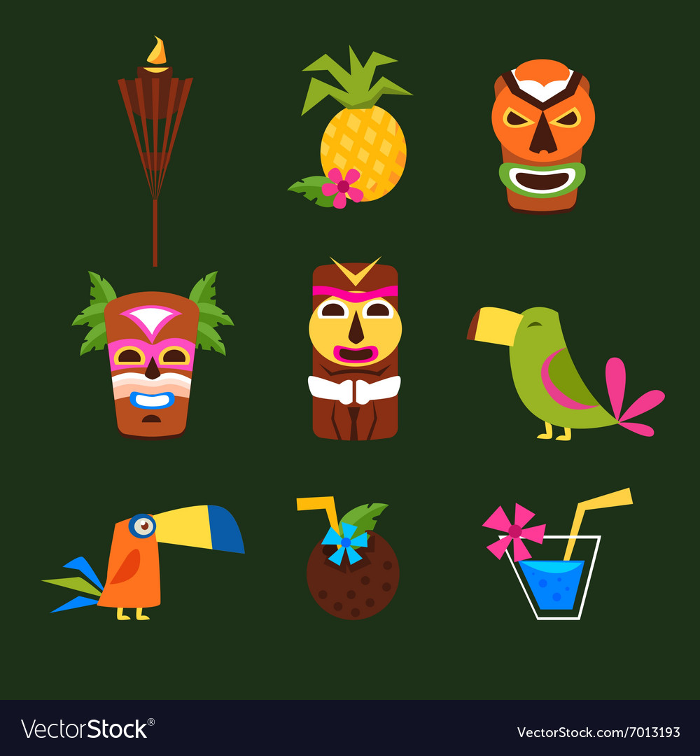 Hawaii Surf Retro Posters Collection in Flat vector image