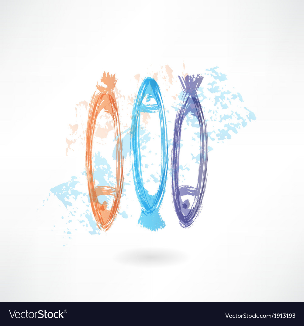 Three fishes grunge icon vector image