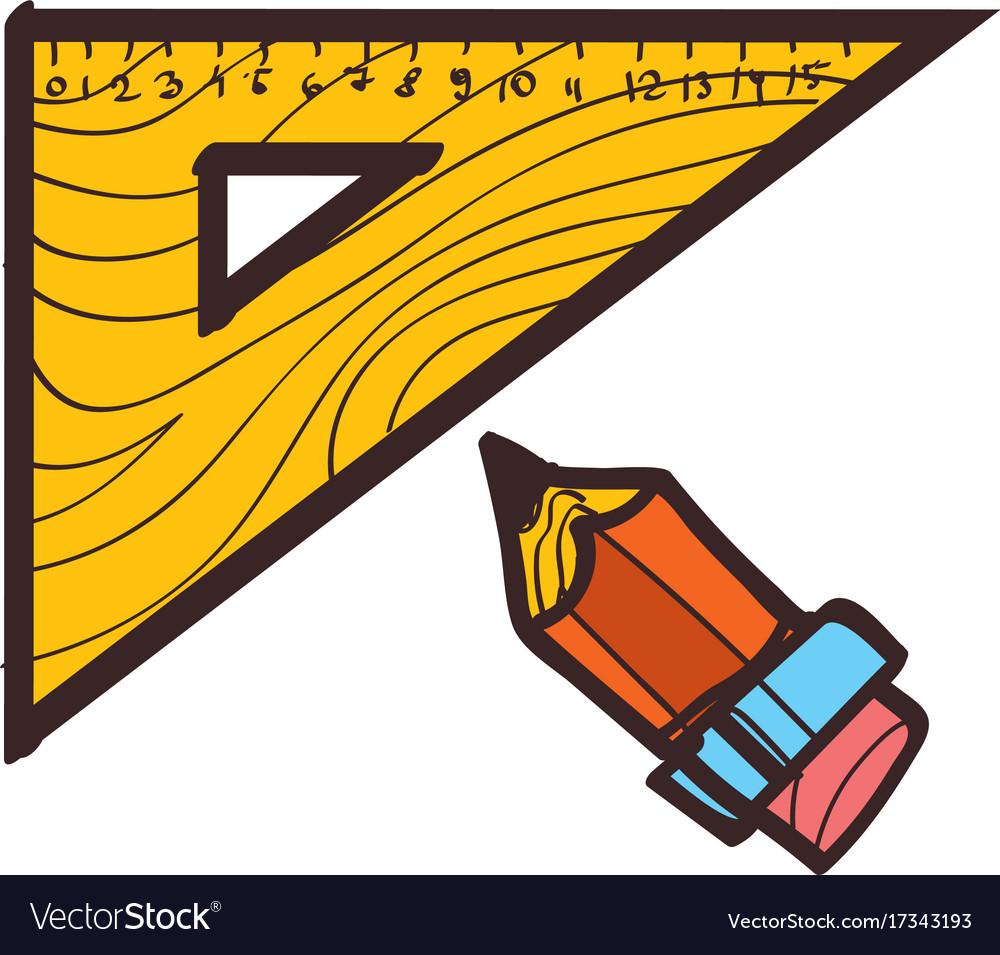Triangular ruler and pencil drawing drawing tools vector image