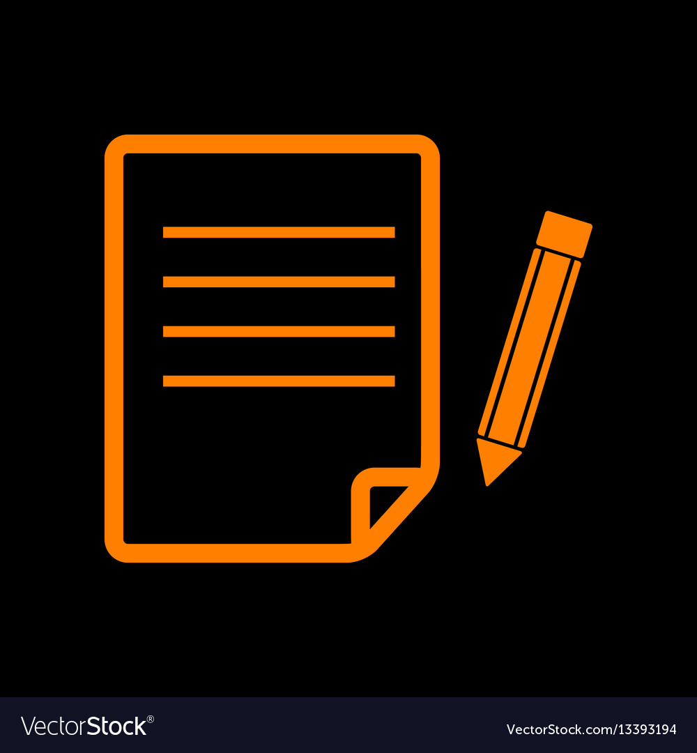 Paper and pencil sign orange icon on black vector image
