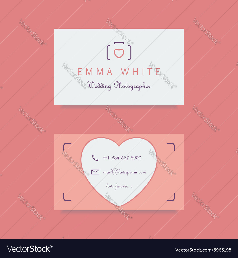 Wedding photographer business card template Vector Image