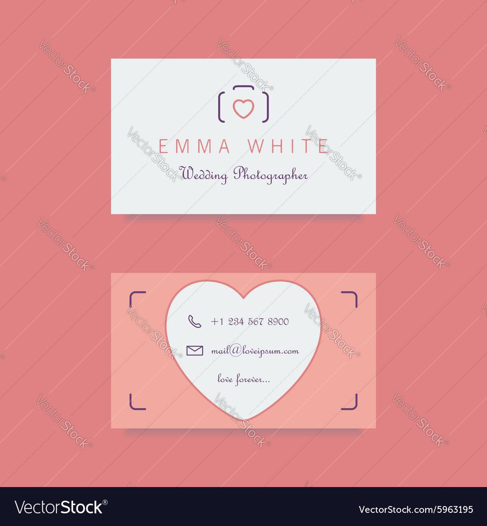 Wedding photographer business card template vector image colourmoves
