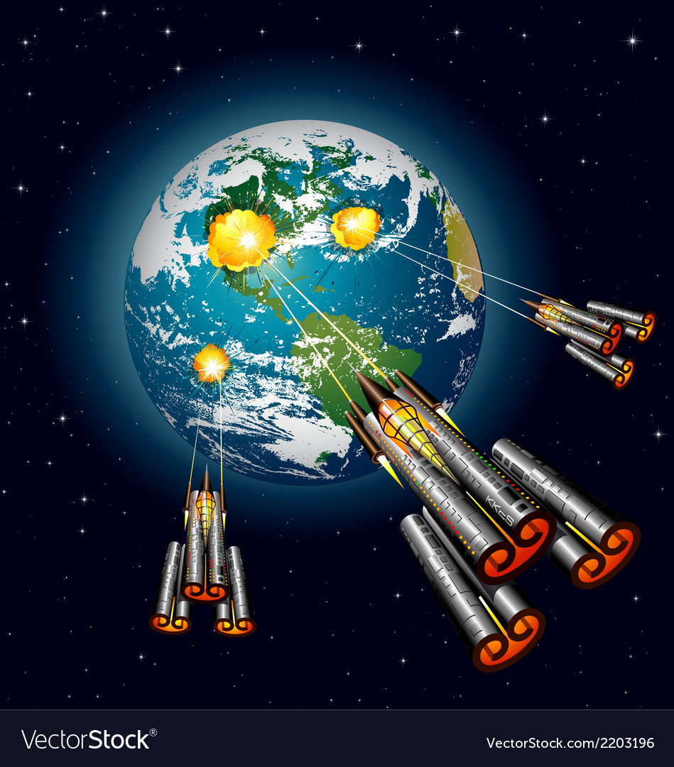 alien spaceships attacking earth royalty free vector image