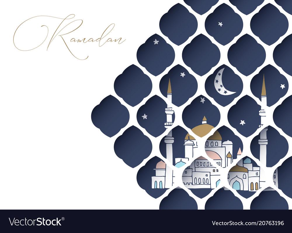 Greeting card invitation for muslim holiday vector image stopboris Choice Image