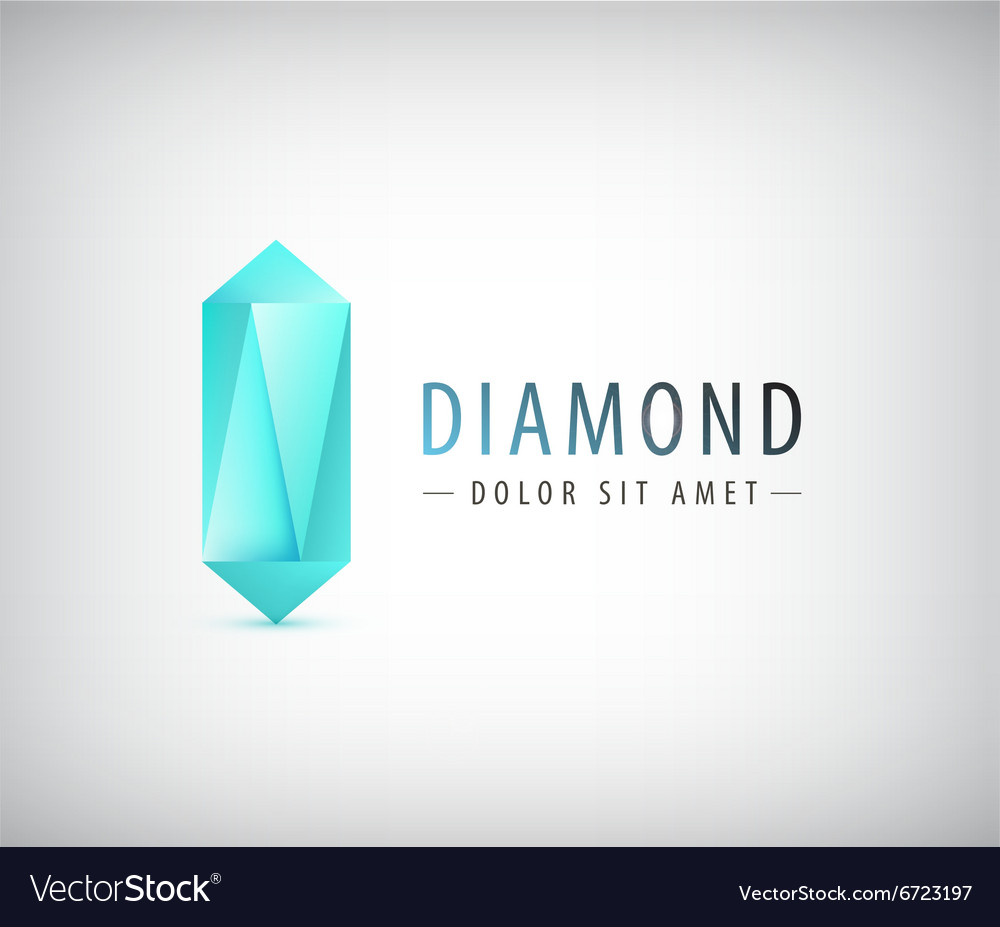 3d diamond crystal logo icon vector image