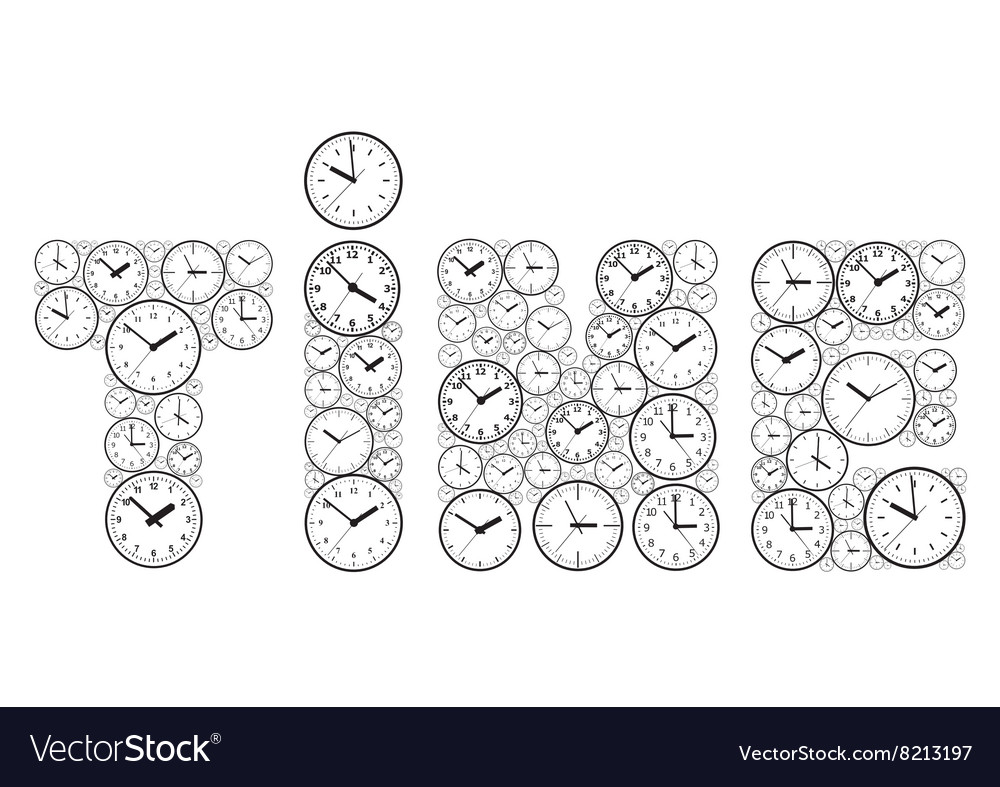 The word time made up of watch dials vector image