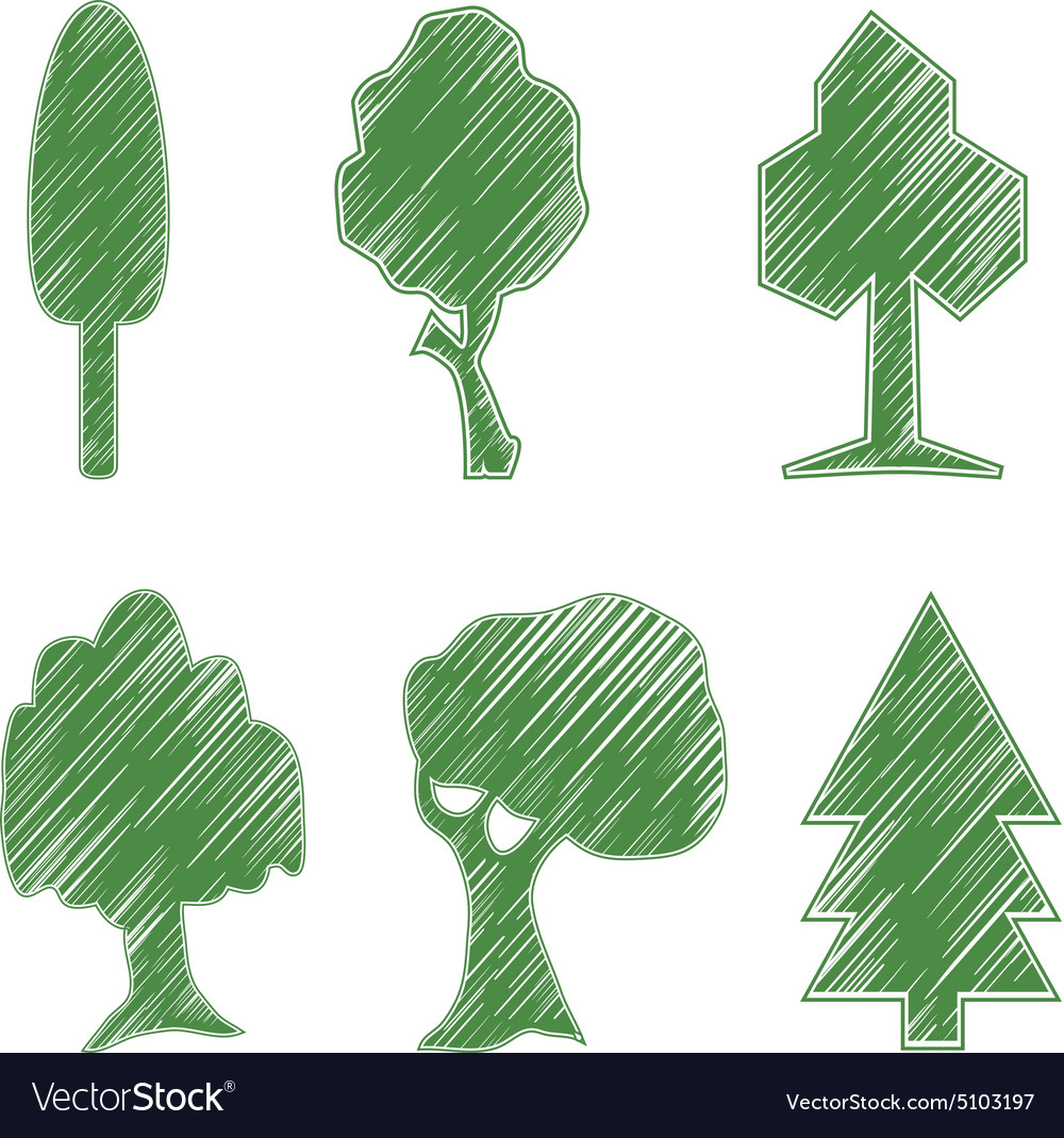 Trees oak spruce bush willow symbolic icons vector image biocorpaavc Image collections