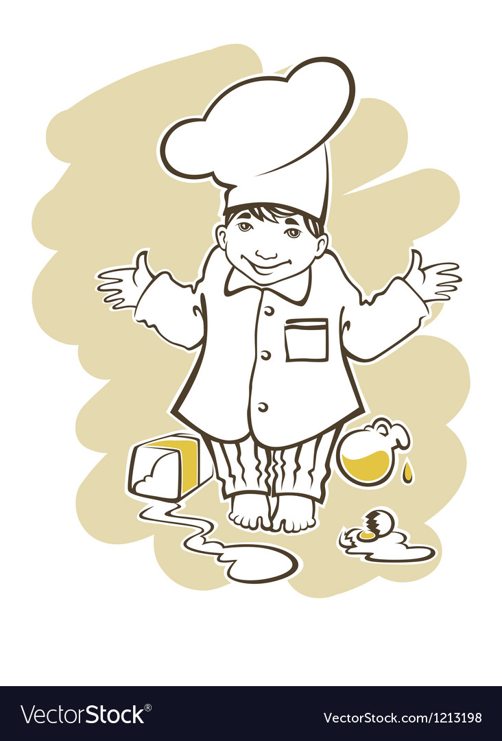 Cooking boy cartoon vector image