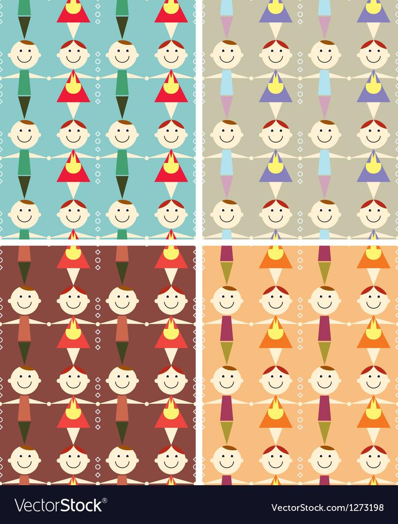 Seamless children pattern vector image
