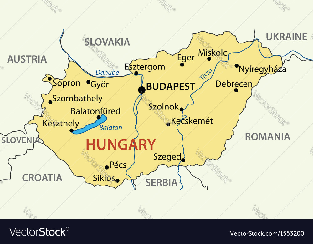 Hungary map Royalty Free Vector Image VectorStock