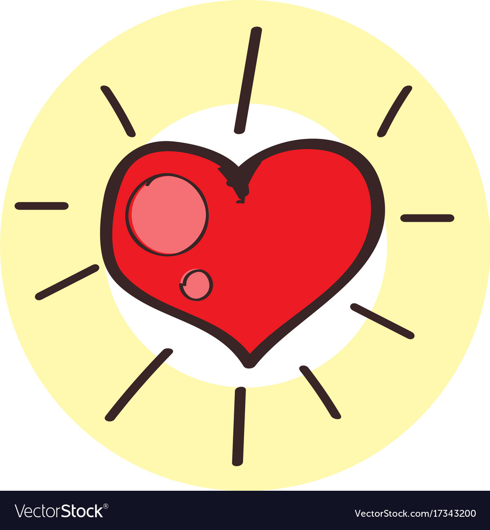 Red heart icon colored with a black outline on a vector image