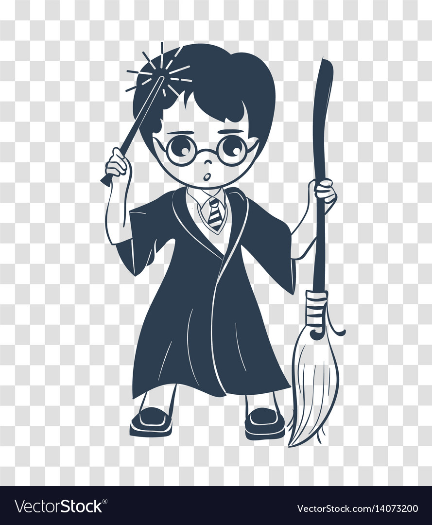 Silhouette icon of a wizard boy vector image