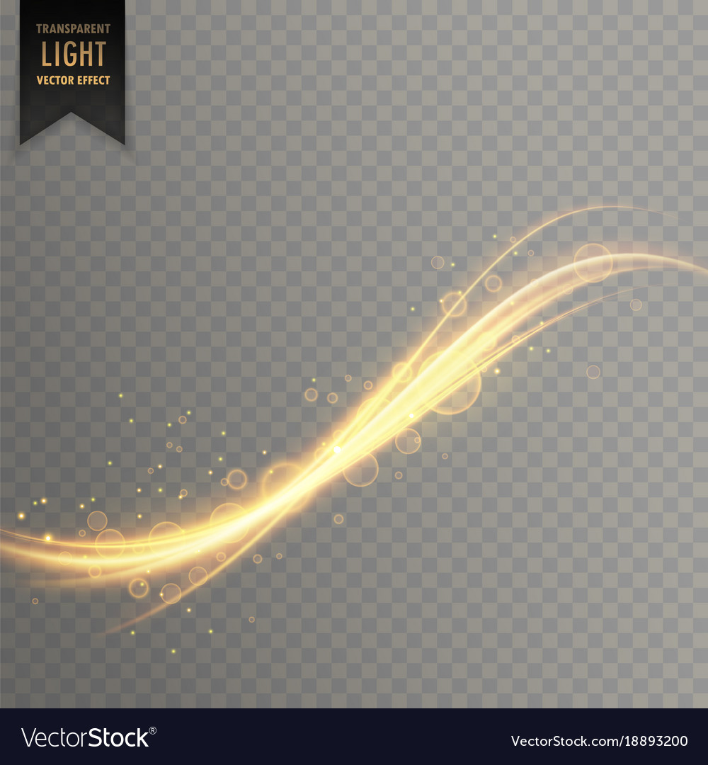 Transparent golden light streak effect background vector image