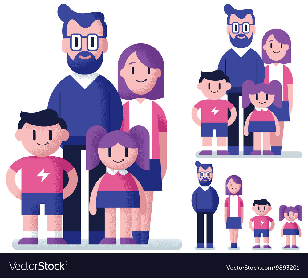 Family Flat Design vector image
