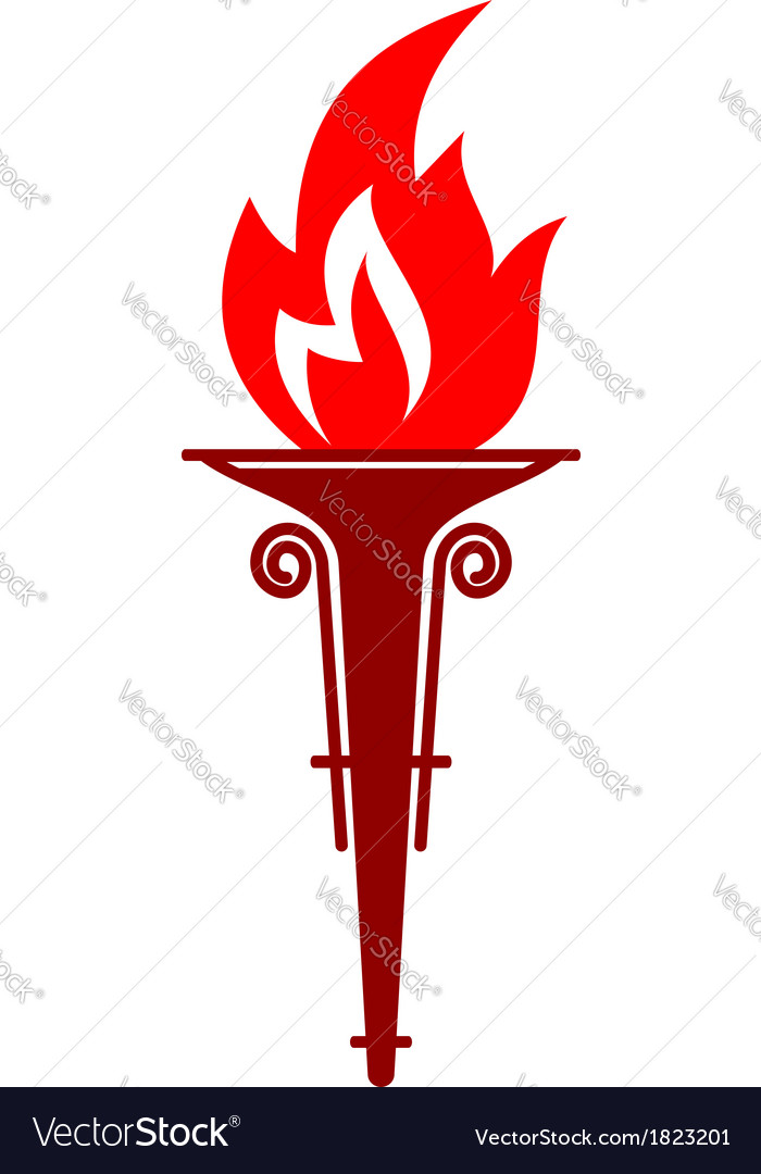 Flaming portable torch vector image