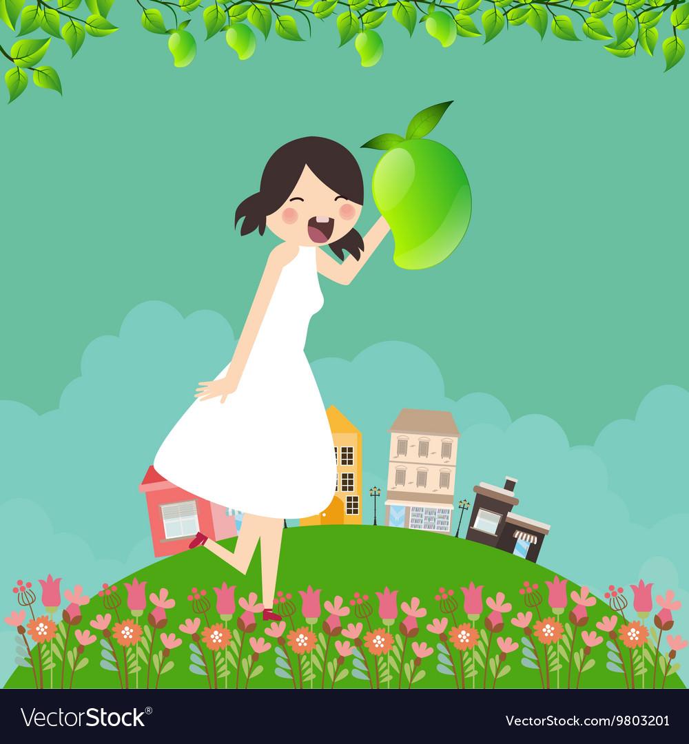 Girl cartoon smile happy holding mango fruit with vector image