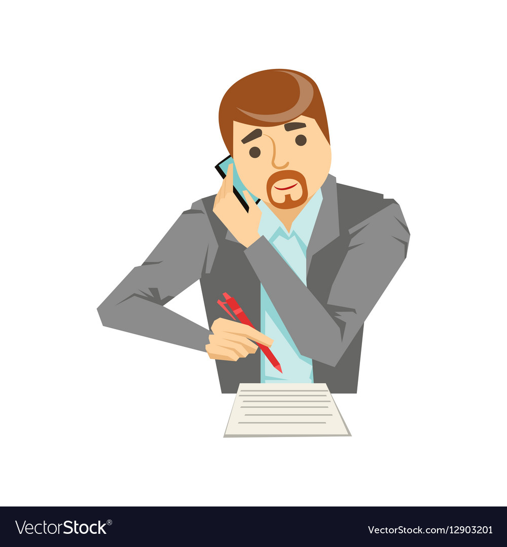 Manager Taking Notes Listening To The Smartphone vector image