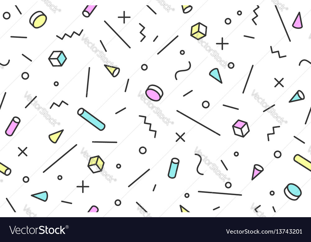 Seamless mephis graphic pattern 80s-90s trendy vector image