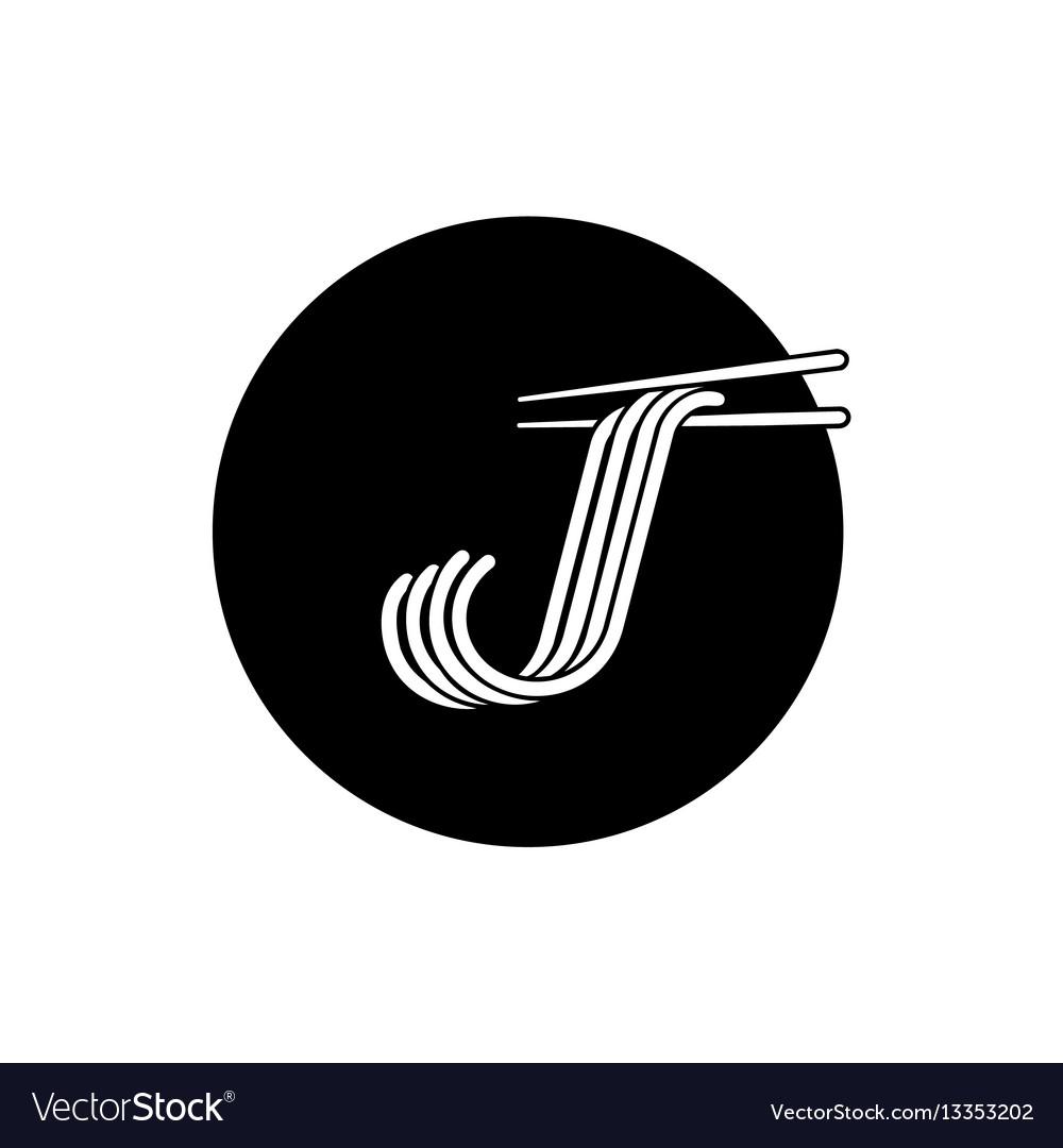J letter noodle logo with chopstick vector image