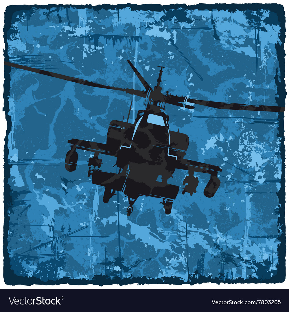 Grunge texture vintage background with helicopter vector image