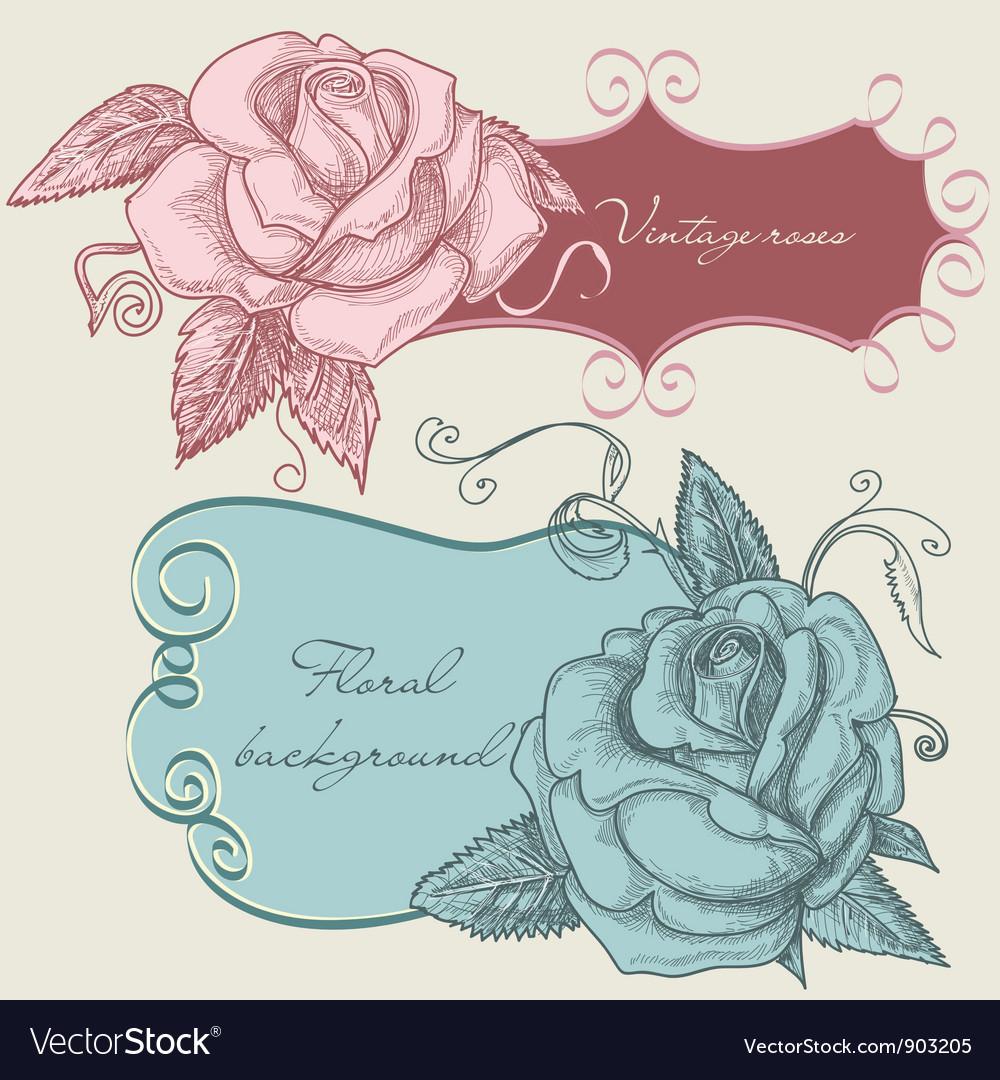 Vintage roses frame vector image