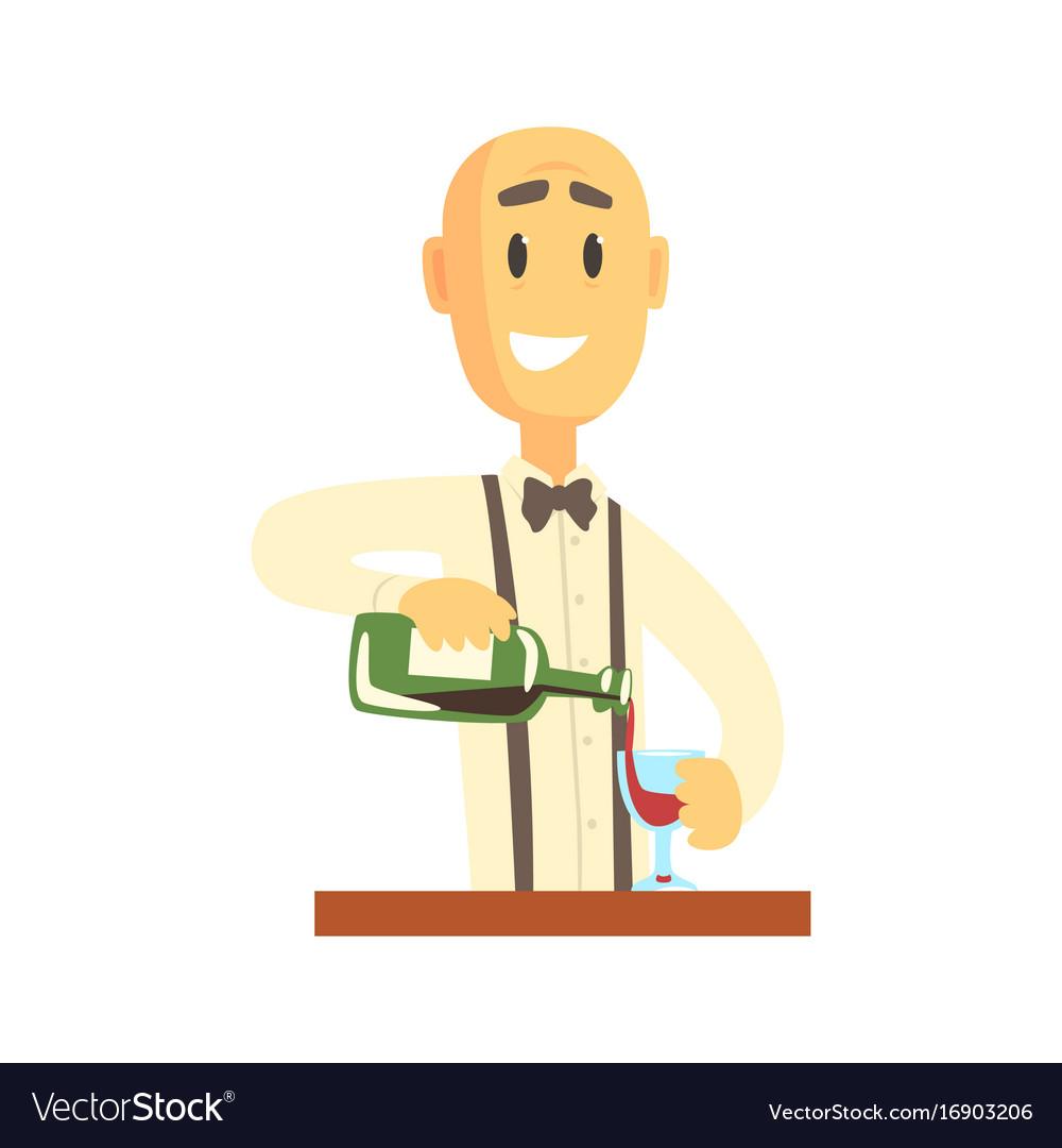 Elegant bartender man character standing at the vector image