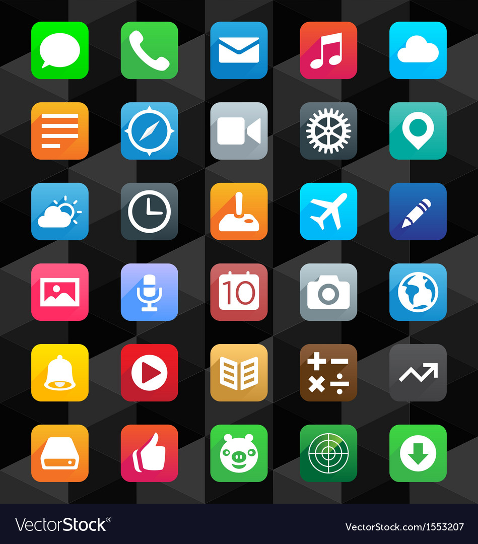 Flat App Icons Vector Image