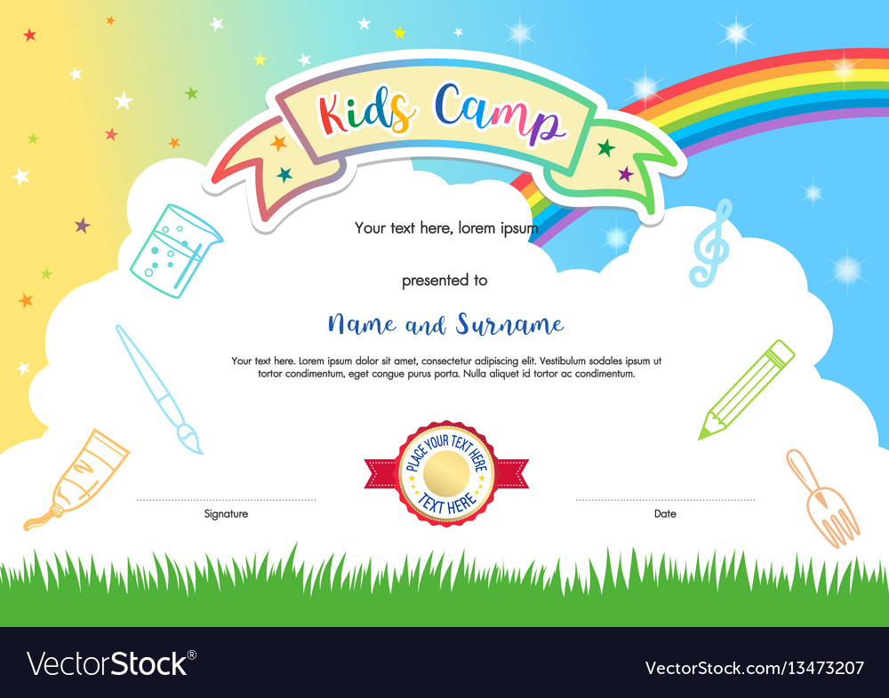 Colorful kids summer camp diploma certificate vector image colorful kids summer camp diploma certificate vector image xflitez Images
