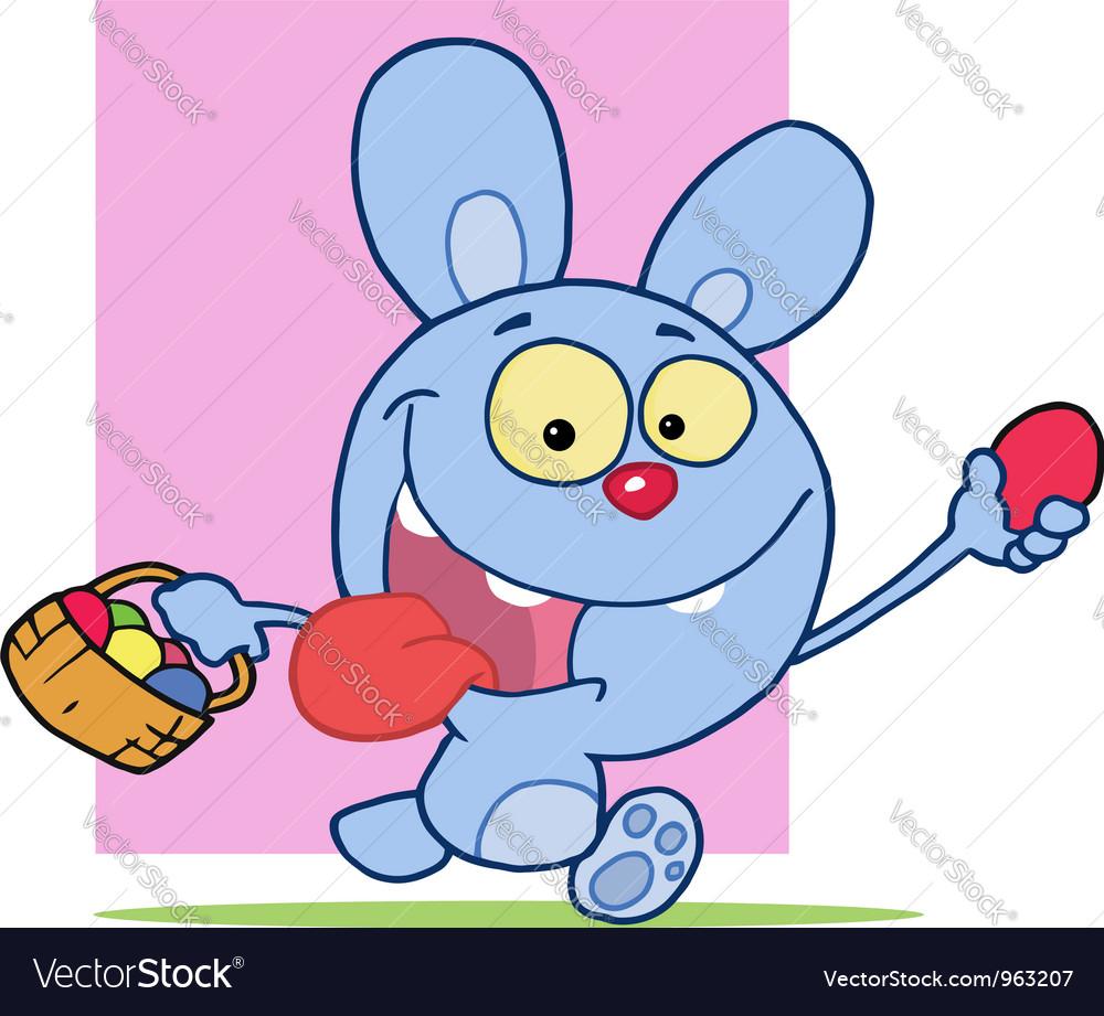 Happy Blue Bunny Rabbit vector image