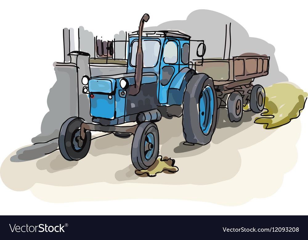 Digital painted old belarus tractor vector image