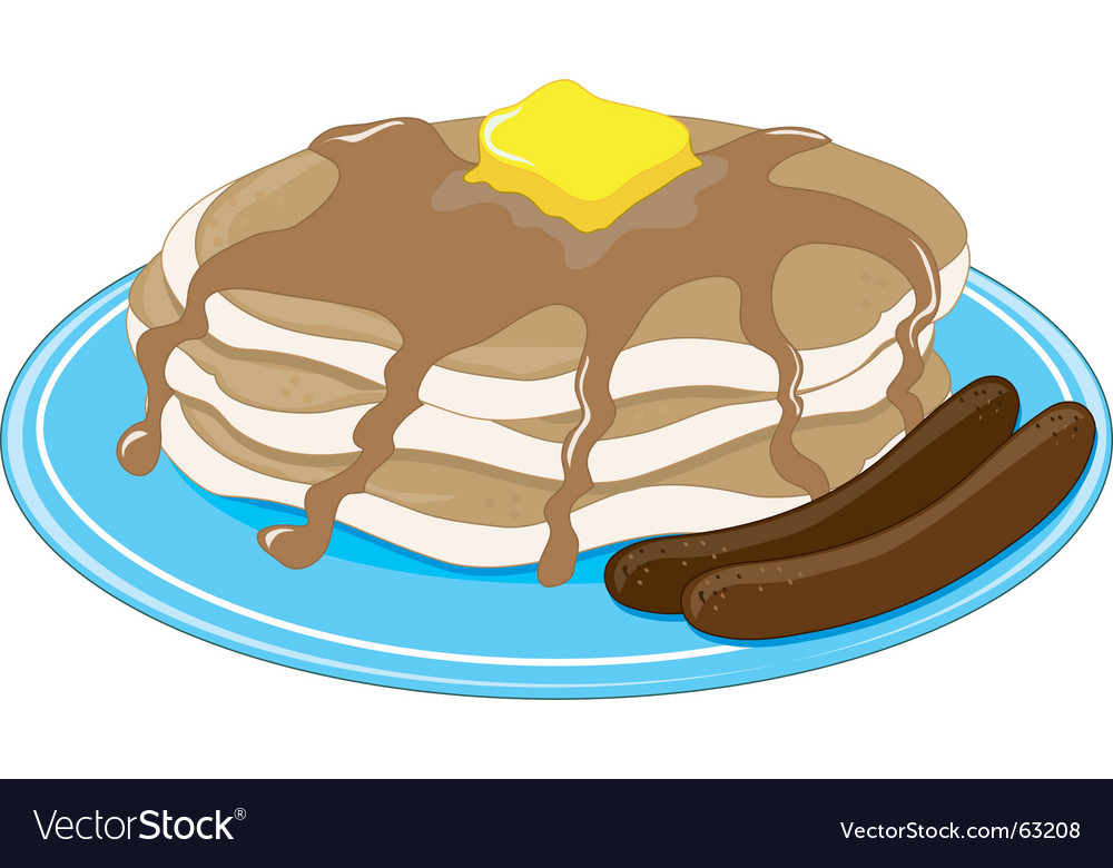 Pancakes sausage vector image