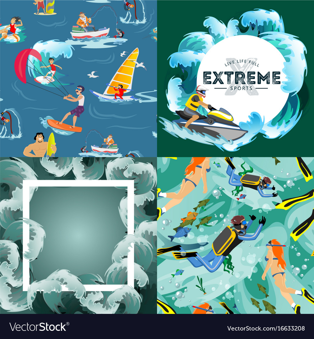 Set of water extreme sports backgrounds isolated vector image