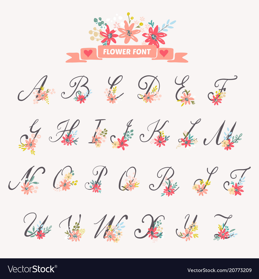 Beautiful Floral Letters Royalty Free Vector Image