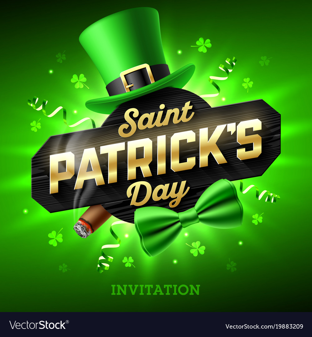 Saint patricks day party invitation feast of Vector Image