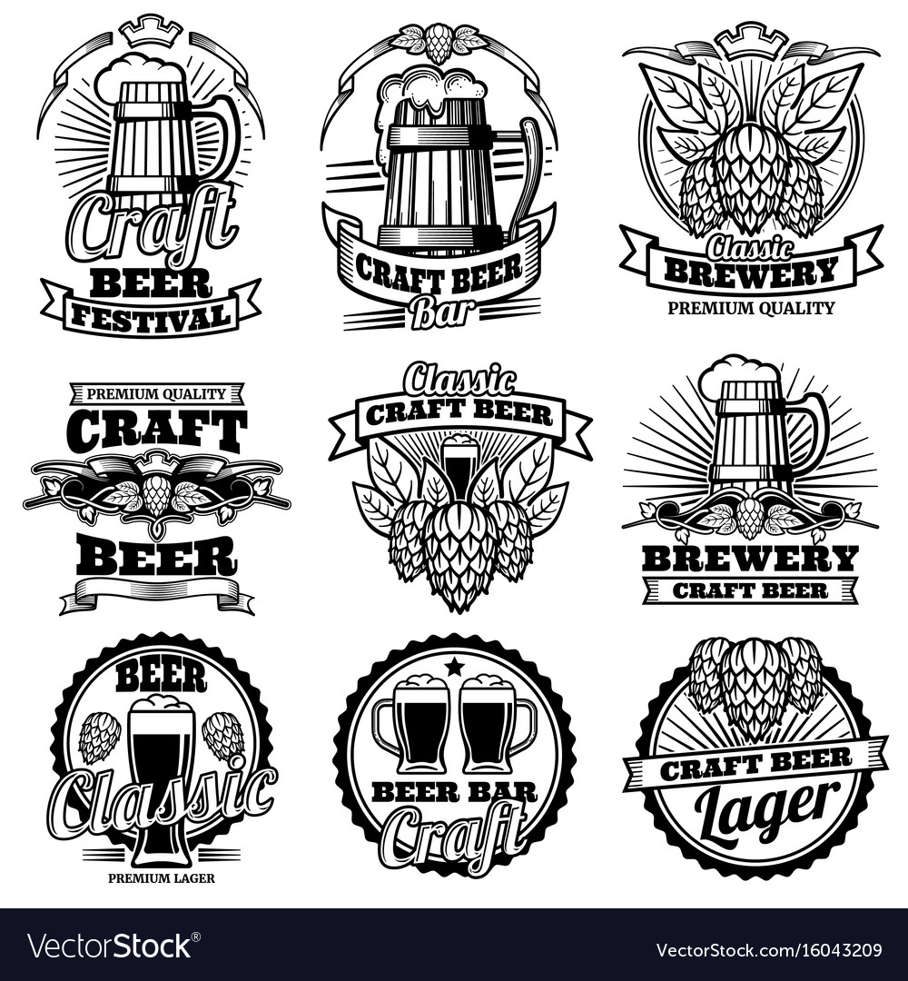 Vintage beer drink bar labels retro vector image